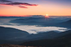 The Great Smoky Mountains in a beautiful sunrise