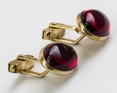 Vintage Cufflinks Blood Red Front by Swank  by CuffsandClips, $17.60