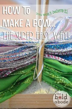 fabric bow tutorial Ok. So after you read this post, you are going to be a Bow-making FIEND! I promise. And if you aren't I'll give you your money back. {Good thing you're reading t Diy Bow, Diy Ribbon, Ribbon Crafts, Ribbon Bows, Ribbon Flower, Burlap Bows, Fabric Crafts, Sewing Crafts, Paper Crafts