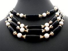 Marked Japan Multi 4 Strand White Black Glass Bead Gold Estate Necklace Vintage   eBay