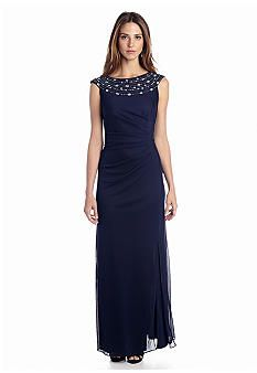 Alex Evenings Long Gown with Bead Embellished Neckline