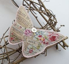 Textile Butterfly Brooch