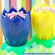 Cheer Spirit - 1 Blue & 1 Yellow Fire Blossom  www.fireblossomcandle.com  A unique cake candle for your birthday party