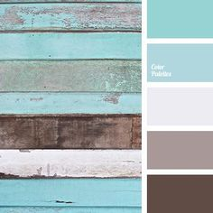 Cool palette in which muted turquoise and soft blue colors dominate. Subtle, har… Cool palette in which muted turquoise and soft blue colors dominate. Subtle, harmonious combination of sky blue and earthy gray-brown shades calms and crea. Scheme Color, Colour Schemes, Color Combos, Paint Combinations, Beach Color Schemes, Turquoise Color Palettes, Color Schemes With Gray, Playroom Color Scheme, Turquoise Paint Colors