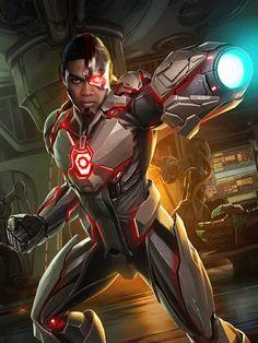 Cyborg from Injustice 2 Mobile Cyborg 3 Dc Comics Superheroes, Dc Comics Art, Comic Book Characters, Comic Character, Comic Books, Justice League Characters, Injustice 2, Superhero Design, Batman And Superman