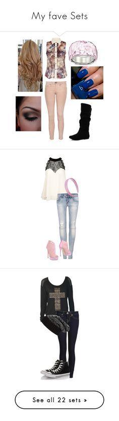 """""""My fave Sets"""" by audett99 ❤ liked on Polyvore featuring beauty, rag & bone/JEAN, Qupid, Swarovski, Butter London, Lipsy, Pull&Bear, Fiorangelo, True Religion and Converse"""