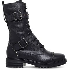 Kg Kurt Geiger Sting leather biker boots ($200) ❤ liked on Polyvore featuring shoes, boots, mid calf lace up boots, leather lace up boots, black biker boots, mid calf leather boots and chunky black boots