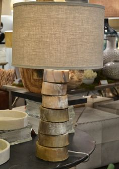 A stacked horn buffalo horn table lamp from Jamie Young. So much character and so versatile, it is at home in any style space. (IHFC -Interhall 609) #hpmkt