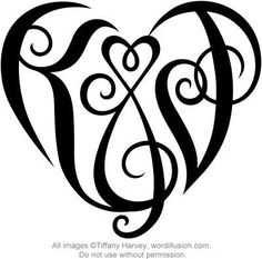 """A custom design of the initials """"K&J"""", created in a heart shape for a tattoo design. More information can be found in my profile (www.flickr.com/people/tiffanyharvey/)."""