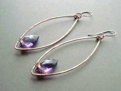 Rose+Gold+Hoop+Earrings+Purple+Gold+Hoops+by+BellaAnelaJewelry,+$57.00