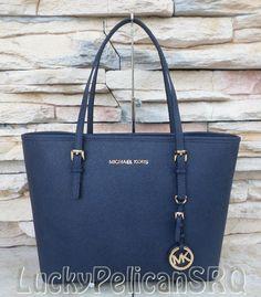 Michael Kors Navy Blue Saffiano Jet Set Small Travel Tote Bag Handbag NWT #MichaelKors #TotesShoppers
