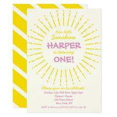 #Sunburst Sunshine Birthday Party Card - #birthdayinvitation #birthday #party #invitation #cool #parties #invitations
