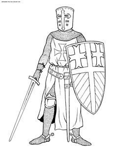 Crusader Coloring Pages to Print - Coloring For Kids 2019 Castle Coloring Page, Abc Coloring Pages, Free Adult Coloring Pages, Coloring Pages For Kids, Coloring Books, Medieval Drawings, Medieval Crafts, Knight Art, Draw On Photos