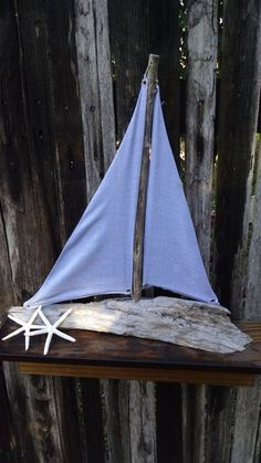 """Driftwood Sailboat """"Just Breathe"""" Blue/Gray by CoastalSalvage"""