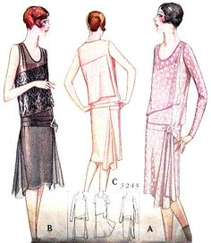 McCall 5245 by Lucien Lelong | 1928 Ladies' and Mises' Slip-On Dress