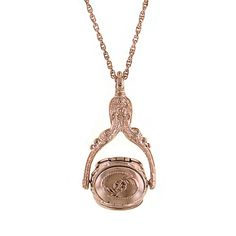 Victorian Style Rose Gold-Tone Rotating Locket Necklace