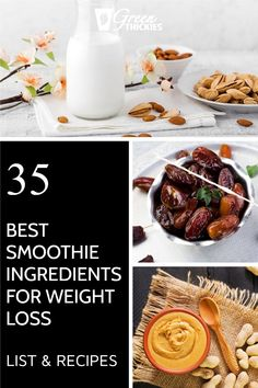 35 Best Smoothie Ingredients For Weight Loss (List Protein Fruit Smoothie, Raw Vegan Smoothie, Green Detox Smoothie, Fruit Smoothie Recipes, Smoothie Prep, Smoothie Ingredients, Make Ahead Smoothies, Good Smoothies, Breakfast Smoothies