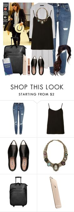 """""""Miami airport with Harry. -----> *Cynthia."""" by imaginegirlsdsos ❤ liked on Polyvore featuring River Island, Topshop, Miu Miu, Burberry and Charlotte Tilbury"""