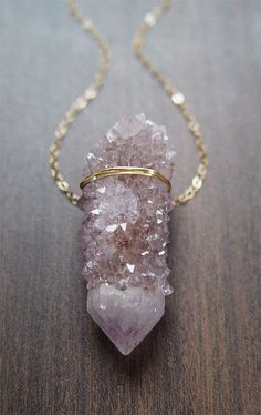 SALE 25% OFF:Lilac Spirit Quartz Druzy Necklace  by friedasophie