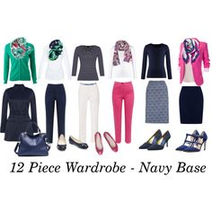 12 Piece Wardrobe - Navy Base A fashion look from May 2014 featuring cotton tees, v-neck cardigan and basic tshirt. Browse and shop related looks. Wardrobe Basics, Work Wardrobe, Capsule Wardrobe, Capsule Outfits, Fashion Capsule, Minimalist Wardrobe, Travel Wardrobe, Business Outfits, Navy Base