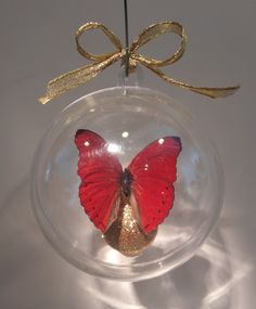 """Cymothoe sangrias"" from Nigeria         The Blood Red Cymothoe  ....clear ornament  80mm.       $20.00 US Butterfly Ornaments, Clear Ornaments, Sangria, Christmas Bulbs, Blood, Holiday Decor, Red, Crafts, Manualidades"