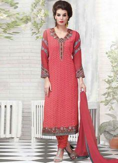 Tomato Red Embroidery Work Georgette Chiffon Designer Churidar Suit  http://www.angelnx.com/Salwar-Kameez