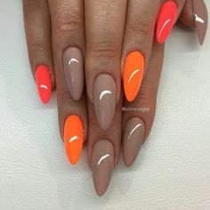 """Hazelnut Fudge"" med ""Neon Orange"" och ""Neon Corall"""