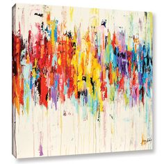 "Latitude Run Abstract Rainbow Painting Print on Wrapped Canvas Size: 36"" H x 36"" W x 2"" D"