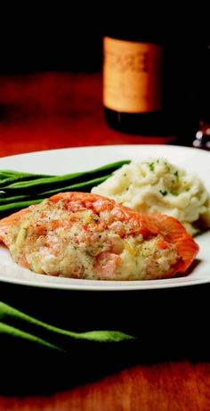 Stuffed Salmon with Bay Shrimp and Crab from McCormick & Schmick's Seafood Restaurants. This is gluten free!