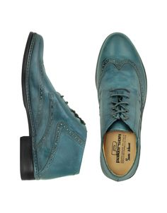 Pakerson   Petrol Blue Handmade Italian Leather Wingtip Ankle Boots for Men