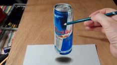 Anamorphic Illusion, Drawing 3D Levitating Red Bull Can, Time Lapse