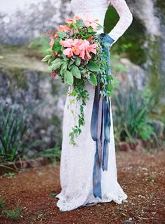 Striking Cascading Bouquet with Sumptious Blue Ribbons: Floral Design by Mindy Rice - MindyRice.com    Photography: Jose Villa Photography - josevillaphoto.com     So much to see!!! On #smp here: http://www.StyleMePretty.com/2014/04/09/wedding-day-inspiration-from-the-jose-villa-mexico-workshop