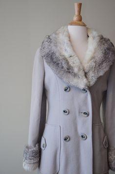 Vintage 1940s Coat / 40s Fur Coat / cream by BrassGiraffeVintage