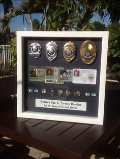 police retirement shadow box - what a great idea! Police Retirement Party, Police Party, Retirement Party Decorations, Retirement Parties, Retirement Gifts, Retirement Ideas, Cop Wife, Police Wife Life, Police Family
