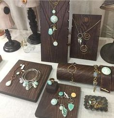Tell a Story with Color! Hands down, this grouping of finished jewelry attracts the most attention in our booth. Once the customer is drawn closer, they can see a variety of looks within that color palette.
