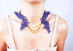 floral purple lace gold chain necklace   flower bib by LaceFancy
