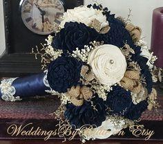 Navy Blue Sola Bouquet Blue Champagne Ivory by WeddingsByBillie Navy Wedding Flowers, Flower Bouquet Wedding, Wedding Colors, Bridal Bouquets, Champagne Flowers, Wedding Dresses, Gardenia Bouquet, Navy Blue Wedding Cakes, Navy Blue And Gold Wedding
