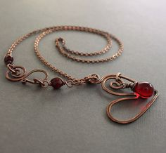 Heart copper necklace with red Czech glass teardrop by IngoDesign
