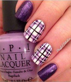 16 Fabulous Purple Nail Designs to Try Purple Plaid Nail Art Purple Plaid Nail Art / via It may be a little difficult to paint nice pla. Purple Nail Art, Purple Nail Designs, Nail Art Designs, Plaid Nail Designs, Plaid Design, Nails Design, Purple Manicure, Purple Colors, Fingernail Designs