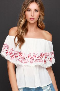 Rosa's Cantina Embroidered Ivory Off-the-Shoulder Top at Lulus.com!