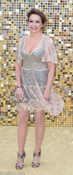 All that glitters: Julia Sawalha, who plays Eddy's long-suffering daughter Saffy, looked stunning in a low-cut metallic mini dress and strappy heels Ab Fab Movie, Julia Sawalha, Jennifer Saunders, Joanna Lumley, Photography Movies, Metallic Mini Dresses, English Actresses, Pride And Prejudice, Strappy Heels