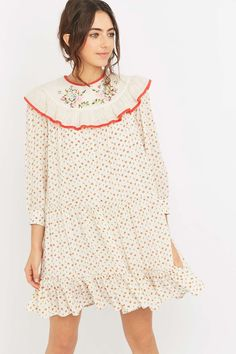 4f0958f5251 Manoush Ruffle Top Embroidered Ivory Dress