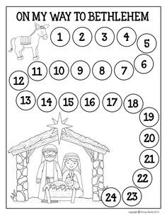 FREE Advent Calendar! Travel with the little donkey each day of December counting from 1-24 until you reach Bethlehem on Christmas day. This Advent Calendar can be used with dot markers, stickers or crayons. Your young students will have a visual reminder of the birth of Jesus by taking one step closer to Him during this Advent season.