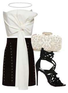 """Untitled #2012"" by fashionistaannie ❤ liked on Polyvore featuring Oscar de la Renta, Balmain, Delpozo, Giuseppe Zanotti and Anne Sisteron"