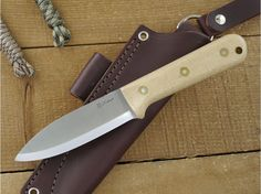 LT Wright Knives: Genesis (Scandi Grind) Fixed Blade Bushcraft Knife w/ Snakeskin Resiten Handle - Leather Sheath - TheKnifeConnection