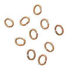 TierraCast Copper Medium Oval Jump Rings, Open, 10pc, 6 mm, 16 gauge
