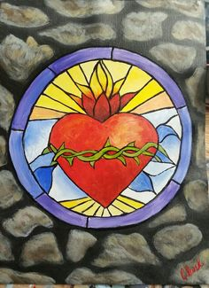 Sacred Heart stained glass painting - A Cinnamon Cooney tutorial