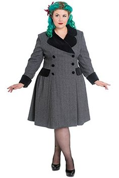 Fashion Bug Plus Size Two Tone Gray Tweed Foxy Pinup A-line Flare Double breasted Coat #BBW www.fashionbug.us #PlusSize #FashionBug #Jackets #Coats