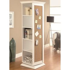 Features:  -Plenty of shelf space, hooks, a mirror and cork board.  -Swivel base for convenience and mobility.  -Wood veneers and solids.  -Storage: 5 Shelves.  -1 Year limited warranty. Dimensions: