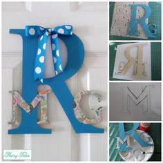 Easy way to decorate wood letters using paint and scrapbook paper.
